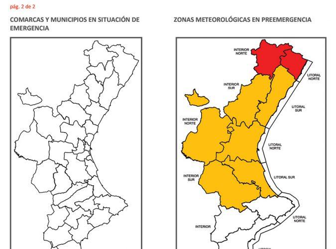 Aviso de riesgos meteorológicos en la C.Valenciana