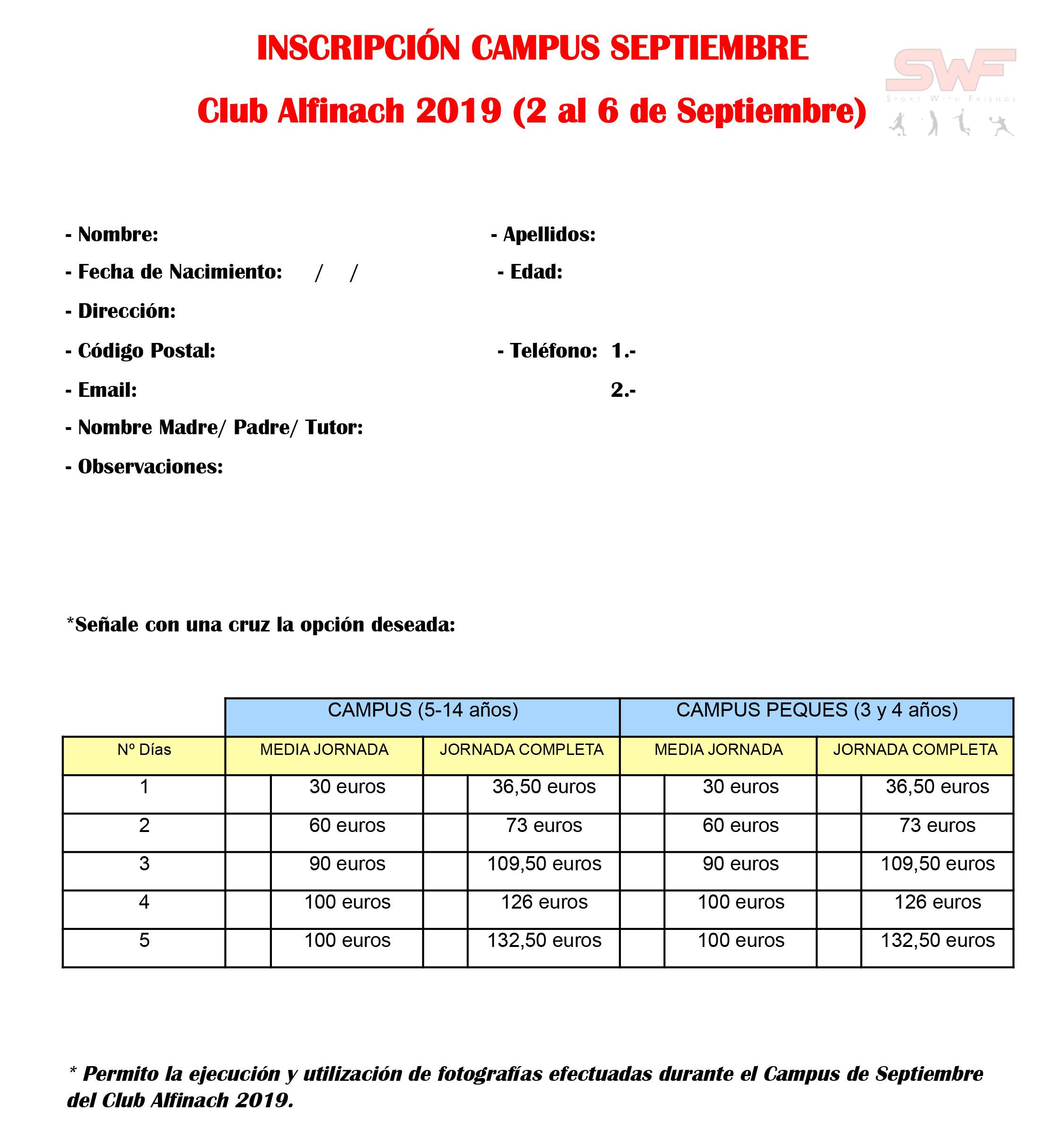Campus Club Social Alfinach<br>Campus Septiembre 2019